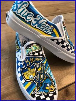 Custom, hand painted,University of Delaware Blue Hens Vans sneakers