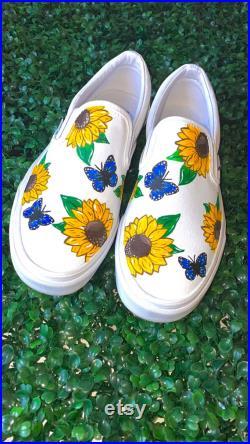 Custom painted Sunflower Butterfly vans