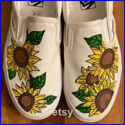 Custom painted white sunflower Vans Slip-ons