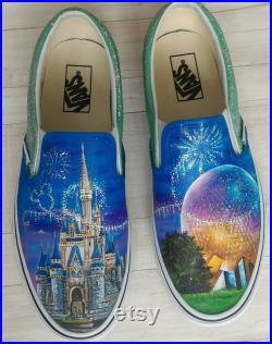Disney parks shoes,Disney themed shoes,custom Disney shoes,Disney shoes,hand painted vans,Cinderella castle,epcot center,Disney vans