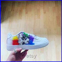 Disney theme custom Air Force ones sketch Minnie and Mickey with paint effect background