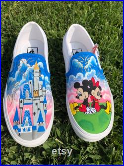 Disneyland inspired hand-painted vans disney castle mickey and minnie sunset fireworks custom order hand painted white slip on vans