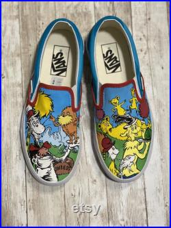Dr Seuss Mashups on Vans slip on shoes size M5 W6.5