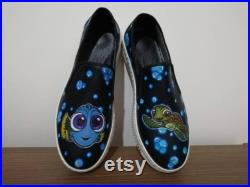 Finding Dory Slip-Ons Sneakers Colorful, Custom Design, Handmade, Hand Painted Sneaker Shoes For Women and Men