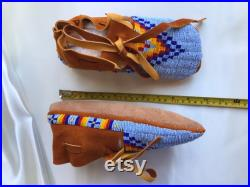 Fully Beaded Blue Moccasins Lakota Design Handmade Native American Regalia