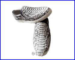 Genuine Snakeskin Slip On Sneakers Casual Shoes Fashion Comfortable Walking Flats