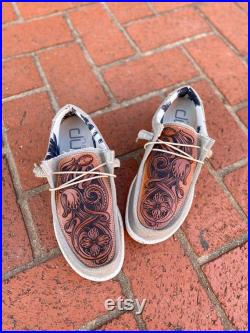 Hand Tooled Hey Dude Shoes