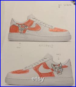 Hand-painted College University themed Nike Air Force 1 s