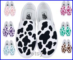 Hand painted Cow pattern Custom order Cow Vans Blue cowithGreen cowithPurple cowithBrown cowithPink cowithRose cowith