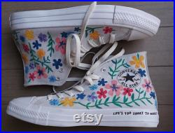 Hand painted Embroidered Flower Converse Vans