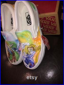 Hand painted- Link and Shiek Watercolor Vans.