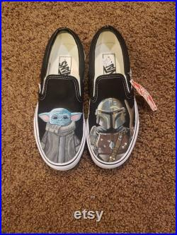 Hand painted The Mandelorian Vans Shoes Grogu Baby Yoda The Child and Din Djarin Star Wars slip on canvas