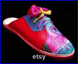 Handmade Custom Red Leather Lace Clogs Shoes Pink Flamingo Painted Landscape Airbrushed, Custom Made or stock Size 5, 6, 7, 8, 9, 10
