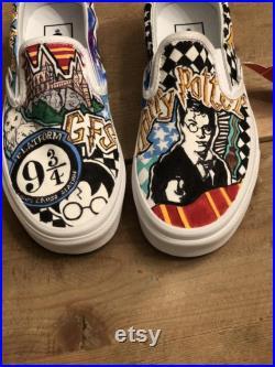 Harry Potter themed custom hand painted slip on Vans sneakers, Harry Potter Slip On Vans Shoes