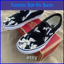 Japanese Crane, Bird Lover Slip On Shoes Custom Vans Shoes Fashion Vans SVSONW098