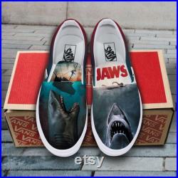Jaws Themed Film Hand Painted Shoes, Custom Sneakers Slip On Vans, Unisex Vans Slip On, Gift for boy girl VSO49