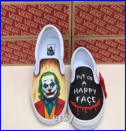 Joker Vans,Joker portrait,Joker painted shoes,Joker 2019,Put on a happy face,Joaquin Phoenix,Custom order,Joker inspired,Handpaintchicshoes