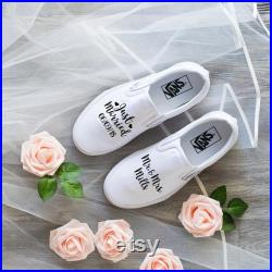 Just Married Wedding Vans Shoes, white slip on, wedding gift, bridal party, anniversary, bride wedding shoes, groom gift,