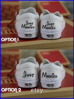 Just Married wedding Vans, Wedding Vans Shoes, bridal sneaker, wedding shoe for bride, bachelorette, Anniversary, Mrs EST Disney style