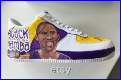 Kobe Bryant custom painted Nike Air Force 1 sneakers Black mamba Customized nike shoes La lakers Custom Kobe painted nikes jordans shoes