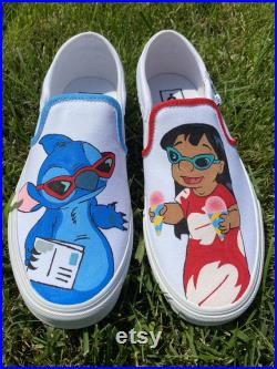 Lilo and Stitch Hand-Painted Custom Vans Lilo and Stitch Red and Blue Best Friends Custom Order Disney Hawaii Custom Vans Cute Vans