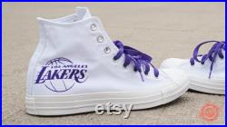 Los Angeles Lakers gear Purple Converse Chuck Taylors with championship years