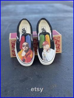 Mac Miller K.I.D.S. Custom Sneakers Black Slip On Vans