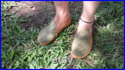 Made to Order Custom-fitted Leather Moccasins Leaf Style Handmade Barefoot Shoes Soft-Sole Unisex size 37-39 EU 6-8 US