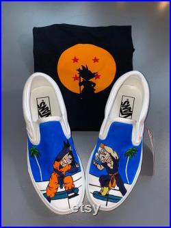 Matching Custom pair of Anime vans and t-shirt