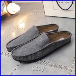 Men Comfy Microfiber Leather Breathable Slip-on Backless Loafers