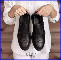 Men's Monky made from natural leather, suede and nubuck handmade shoes