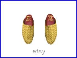Men's sandals,woven mules,woven Leather slippers, mexican huaraches, (mustard))
