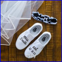 Mrs Wedding Vans Shoes, Just married white slip on, wedding gift, bridal party, bachelorette, Anniversary Gift