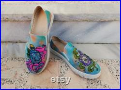 Potion Bottles Slip-Ons Sneakers Colorful, Custom Design, Handmade, Hand Painted Sneaker Shoes For Women and Men