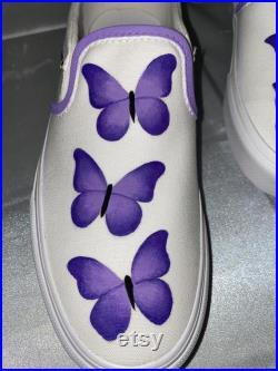 Purple Butterflies Hand-Painted Vans Purple Butterflies Hand-Painted Custom Vans Trendy Vans Fashionable Gift Ideas Purple Butterfly