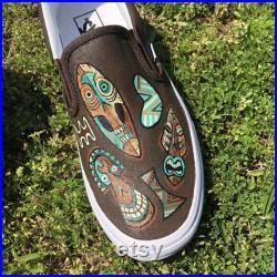 Ready to Ship Tiki Custom Painted Vans Shoes