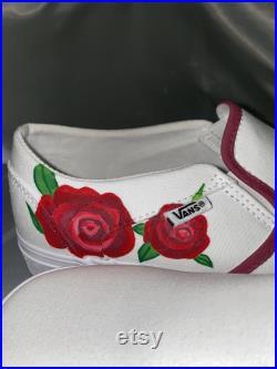 Red roses hand painted custom vans red roses roses Valentine s Day dark red hand-painted custom vans painted vans custom order