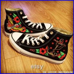 Sailor Jerry Style Tattoo Shoes, Custom Shoes, Custom Converse, Converse Allstars, Vans Shoes, Painted Shoes