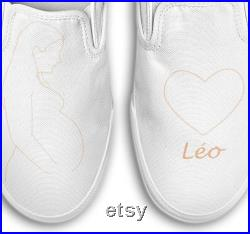 Shoes Vans portrait silouhette pregnant woman first name personalization (painted by hand)
