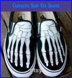 Skeleton Boney Feet Slip On Shoes Custom Vans Shoes Fashion Vans SVSONW107