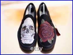 Skull and Rose Custom Vans