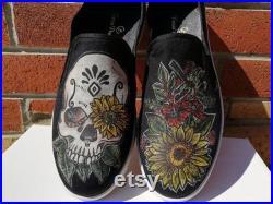 Skull n Sun Flower Slip-Ons Sneakers Black, Custom Design, Handmade, Hand Painted Sneaker Shoes For Women and Men