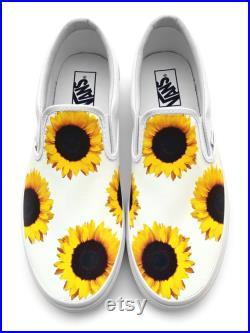 Sunflower Custom Vans Brand Slip-on Shoes