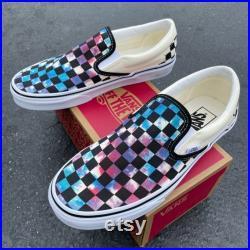 Tie Dye Galaxy Checker Slip On Vans