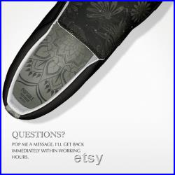 Tonal Slip on Sneakers with Custom Tropical Pattern, Mandala Insole, Sugar Skulls and Personalization Options, Made To Order