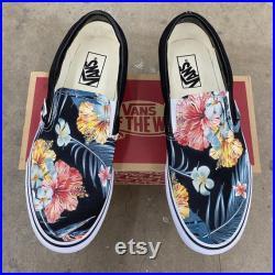Tropical Floral Pattern on Black Vans Slip On Shoes Men's and Women's Custom Vans Sneakers