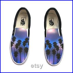 Tropical Galaxy Vans Slip Ons Palm Trees and Galaxy on Vans Shoes Shoes for Him, Shoes for Her, Summer, Beach, Galaxy, Palm Trees