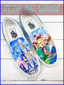 Under The Sea Little Mermaid And Castle Hand Painted Shoes, Custom Sneakers Slip On Vans, Unisex Vans Slip On, Gift for boy girl VS69