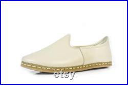 Unisex Beige Color Leather Handmade Sabah Slip On Loafer Turkish Slip On