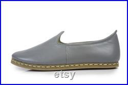 Unisex Gray Color Leather Handmade Sabah Slip On Loafer Turkish Slip On